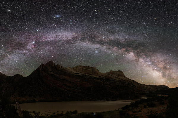 Mountain range with starry background